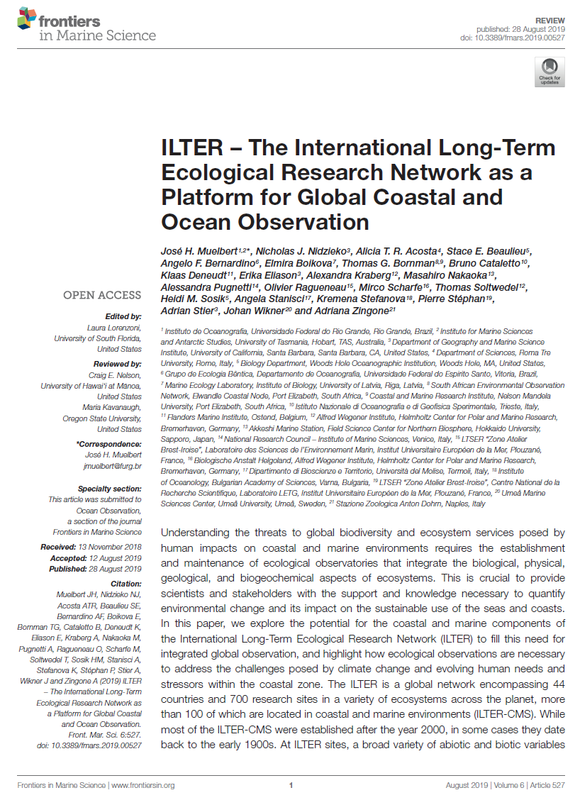 Cover page for ILTER article in Frontiers in Marine Science, https://doi.org/10.3389/fmars.2019.00527