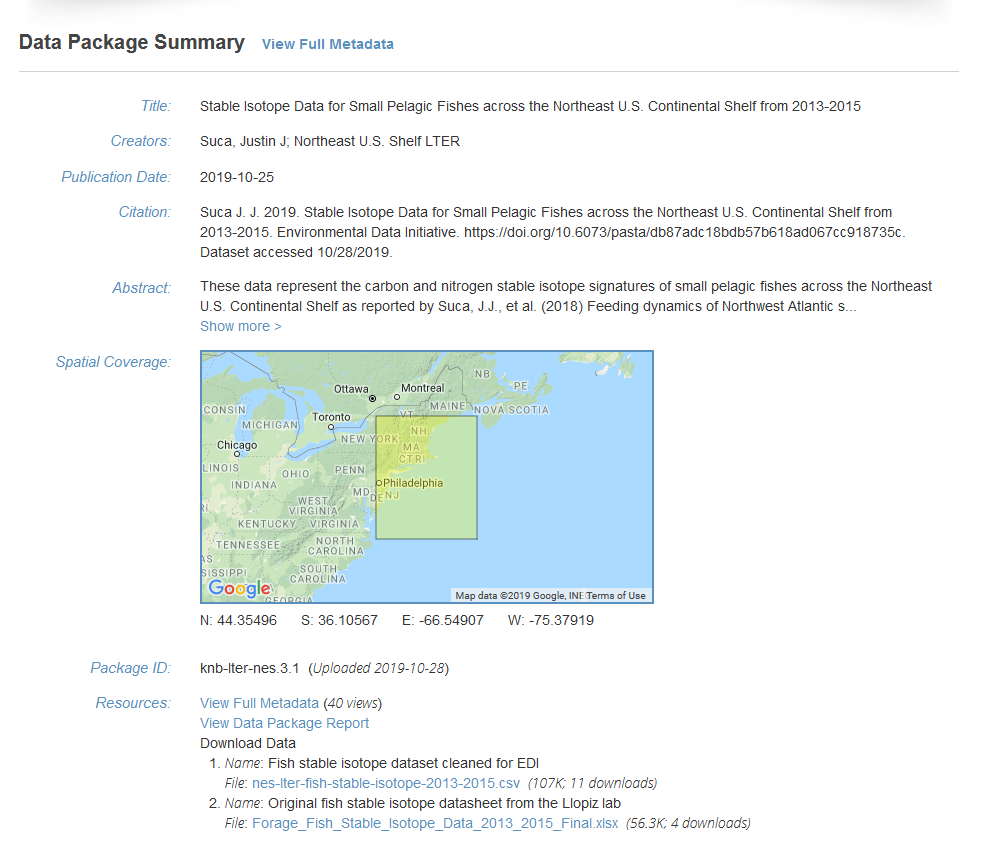 Screen grab of landing page for data package at the Environmental Data Initiative repository